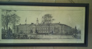 Picture of the original design of Mason Elementary hung in their front hallway